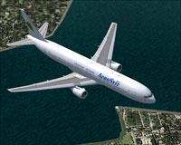 Screenshot of AeroSvit Airlines Boeing 767-383ER in flight.