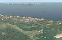 Aerial view of the airport and surrounding town.