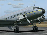Screenshot of Aeroejecutivos Douglas DC-3 on runway.