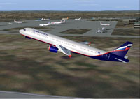 Screenshot of Aeroflot Airbus A321 in flight.