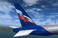 Screenshot showing the tail decal of this Aeroflot Boeing 777-200LR.