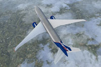 Top down view of Aeroflot Cargo Boeing 777-F in flight.