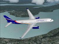 Screenshot of Aeroflot Tu-204 in flight.