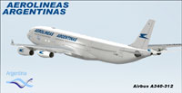 Screenshot of Aerolineas Argentinas Airbus A340-300 in flight.