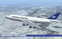Screenshot of Aerolineas Argentinas Boeing 747-287 in flight.