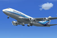Screenshot of Aerolineas Argentinas Boeing 747-400 in flight.