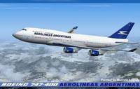 Screenshot of Aerolineas Argentinas Boeing 747 in flight.