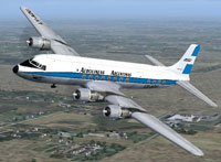 Screenshot of Aerolineas Argentinas Douglas DC-6 in flight.