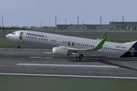 Screenshot of Aeromaritime Boeing 737-900ER taking off from runway.