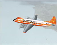 Screenshot of Aeropesca Colombia Viscount 745 in flight.