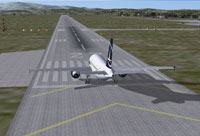 Plane on runway at Aeroportul International Sibiu-Turnisor.