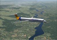 Screenshot of Aerorepublica MD-83 in flight.