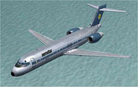 Screenshot of Aerostar Virtual Airlines 717-200 in flight.