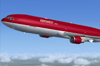 Screenshot of Aerowest McDonnell Douglas MD-11 in flight.