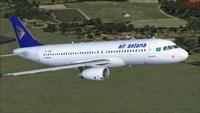 Screenshot of Air Astana Airbus A320-231 in flight.