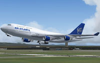 Screenshot of Air Atlanta Boeing 747-400 taking off.