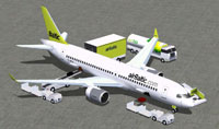 Screenshot of Air Baltic CSeries CS300 and ground services.