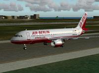 Screenshot of Air Berlin Airbus A320 on runway.