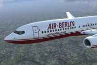 Close up of Air Berlin Boeing 737-800 in flight.