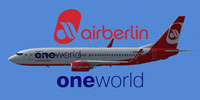 Profile view of Air Berlin Oneworld Boeing 737-800WL.
