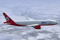 "Screenshot of Air Berlin ""Oneworld"" Boeing 777-200LR in flight."