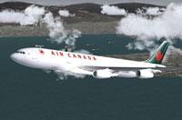 Screenshot of Air Canada A340-313 in flight.