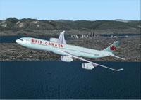 Screenshot of Air Canada Airbus A340-500 in flight.