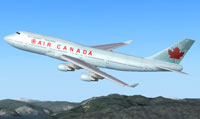 Screenshot of Air Canada Boeing 747-400 in flight.