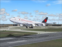 Screenshot of Air Canada Boeing 747-400 taking off.