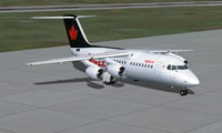 Screenshot of Air Canada Jazz BAe 146-200 on the ground.