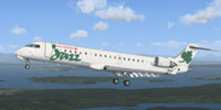 Screenshot of Air Canada Jazz bombardier CRJ 700 in flight.