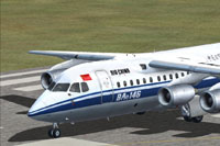 Screenshot of Air China BAe 146-100 on runway.