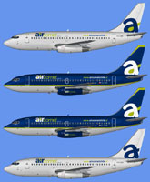 Image showing four different liveries for the Air Comet Chile Boeing 737-200.