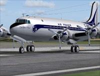 Screenshot of Air France Douglas DC-4 on runway.