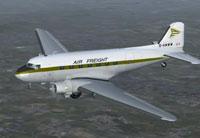 Screenshot of Air Freight Ltd/Skyways DC-3 in flight.