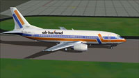 Screenshot of Air Holland Boeing 737-300 taxiing to runway.