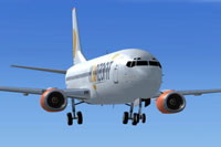 Screenshot of Air Horizont Boeing 737-400 lowering landing gear.