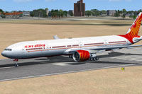 Screenshot of Air India Boeing 777-337ER on runway.