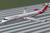 Screenshot of Air India CRJ700 on runway.