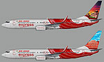 Image showing two liveries for the Air India Express Boeing 737-800W.