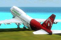 Screenshot of Air Madagscar Boeing 747-400 taking off.