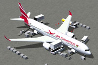 Screenshot of Air Mauritius Airbus A350-900 and ground services.