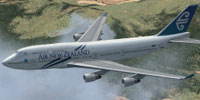 Screenshot of Air New Zealand Boeing 747-400 in flight.