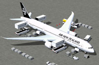 Screenshot of Air New Zealand Boeing 787-9 and ground services.