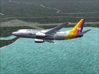 Screenshot of Air Pacific Boeing 737-700 in flight.