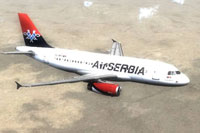 Screenshot of Air Serbia Airbus A319 in flight.