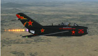 Screenshot of Air Show MiG 15 in flight.