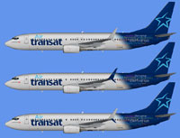Image showing three liveries for the Air Transat Boeing 737-800 fleet.