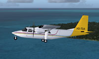 Profile view of Air Turks And Caicos BN-2 in flight.