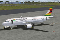 Screenshot of Air Zimbabwe Airbus A320 on the ground.